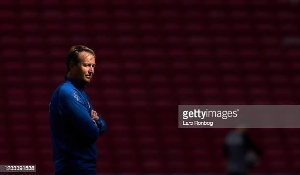Kasper Hjulmand, head coach of Denmark looks on during the UEFA EURO 2020 Group B Denmark training session at Parken Stadium on June 11, 2021 in...