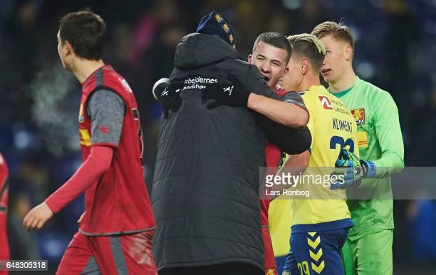 Kasper Hjulmand head coach of FC Nordsjalland and Karlo Bartolec of FC Nordsjalland celebrate after the Danish Alka Superliga match between Brondby...