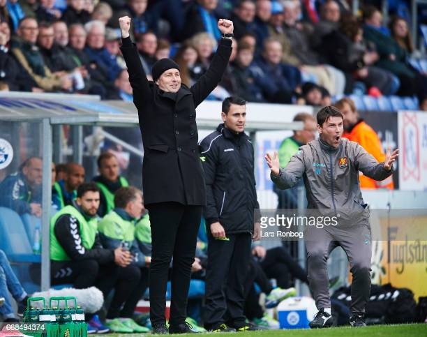 Kasper Hjulmand head coach of FC Nordsjalland and Soren Krogh assistant coach of FC Nordsjalland celebrate after the fourth goal during the Danish...
