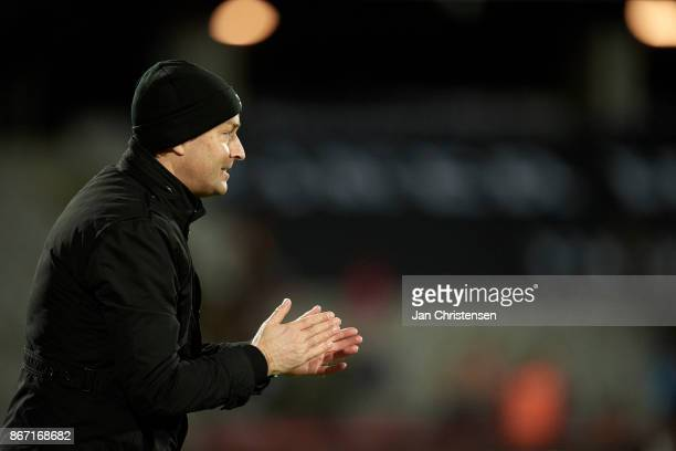 Kasper Hjulmand head coach of FC Nordsjalland celebrate after the Danish Alka Superliga match between AGF Arhus and FC Nordsjalland at Ceres Park on...