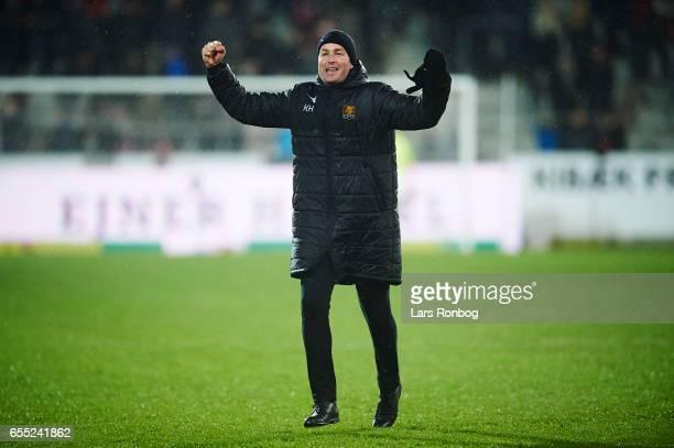 Kasper Hjulmand head coach of FC Nordsjalland celebrates after the Danish Alka Superliga match between FC Midtjylland and FC Nordsjalland at MCH...