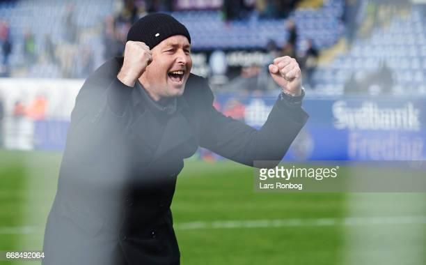 Kasper Hjulmand head coach of FC Nordsjalland celebrates after the Danish Alka Superliga match between Sonderjyske and FC Nordsjalland at Sydbank...