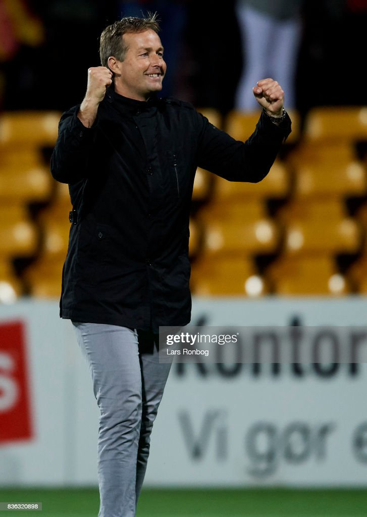 Kasper Hjulmand, head coach of FC Nordsjalland celebrates after the Danish Alka Superliga match between FC Nordsjalland and FC Helsingor at Right to Dream Park on August 21, 2017 in Farum, Denmark.