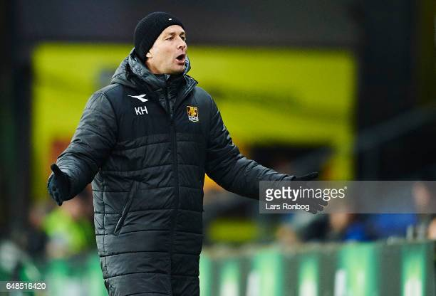 Kasper Hjulmand head coach of FC Nordsjalland gestures during the Danish Alka Superliga match between Brondby IF and FC Nordsjalland at Brondby...