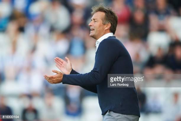 Kasper Hjulmand head coach of FC Nordsjalland gestures during the Danish Alka Superliga match between OB Odense and FC Nordsjalland at EWII Park on...