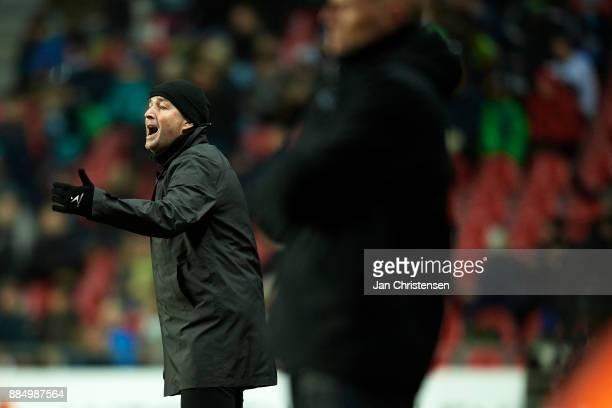 Kasper Hjulmand head coach of FC Nordsjalland gives instructions during the Danish Alka Superliga match between FC Copenhagen and FC Nordsjalland at...