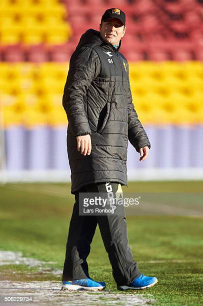Kasper Hjulmand, head coach of FC Nordsjalland looks on during the FC Nordsjalland and IF Elfsborg friendly match at Farum Park on January 22, 2016...