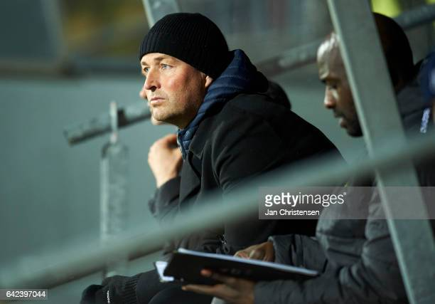 Kasper Hjulmand head coach of FC Nordsjalland looks on during the Danish Alka Superliga match between FC Nordsjalland and Lyngby BK at Right to Dream...