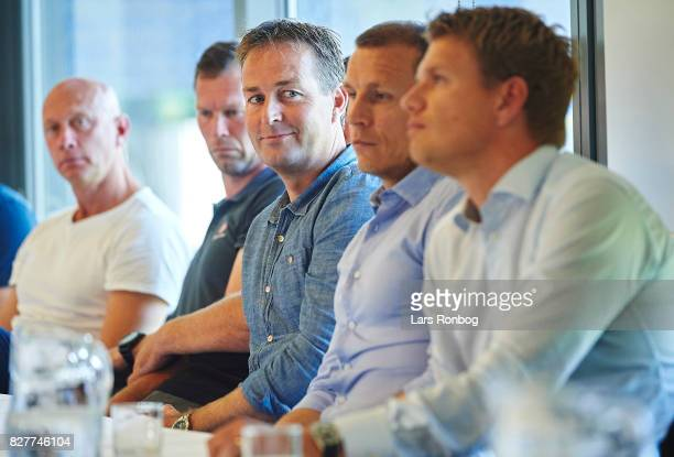 Kasper Hjulmand head coach of FC Nordsjalland looks on during the Danish Alka Superliga media event at Brondby Stadion on August 8 2017 in Brondby...