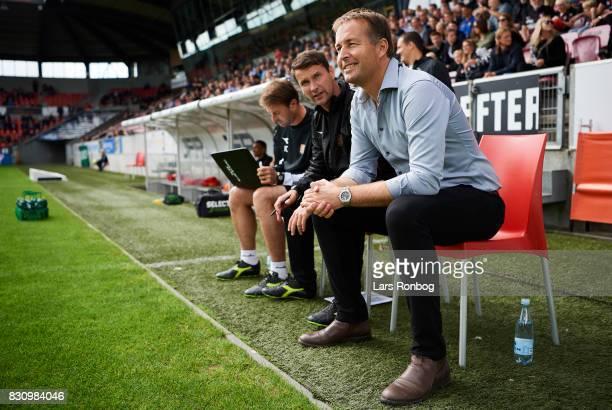 Kasper Hjulmand head coach of FC Nordsjalland looks on prior to the Danish Alka Superliga match between FC Midtjylland and FC Nordsjalland at MCH...