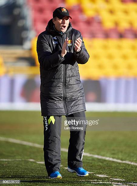 Kasper Hjulmand, head coach of FC Nordsjalland show emotions during the FC Nordsjalland and IF Elfsborg friendly match at Farum Park on January 22,...