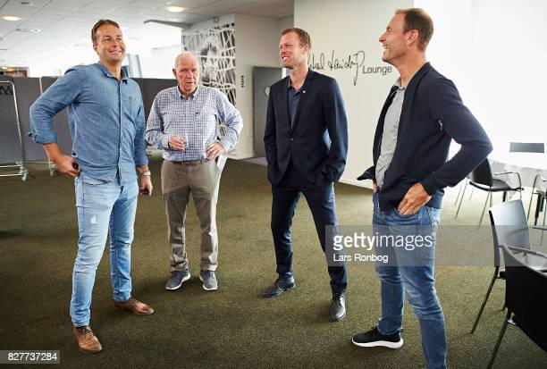 Kasper Hjulmand head coach of FC Nordsjalland Soren Olsen journalist of Politiken newspaper Morten Wieghorst head coach of AaB Aalborg and Jess...