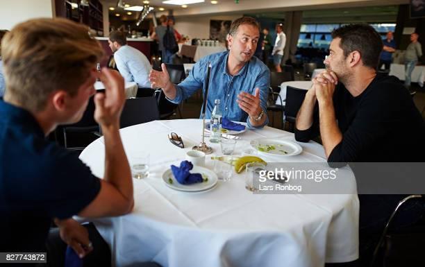 Kasper Hjulmand head coach of FC Nordsjalland speaks to Dan Engelsted journalist of Viasat Sport during the Danish Alka Superliga media event at...