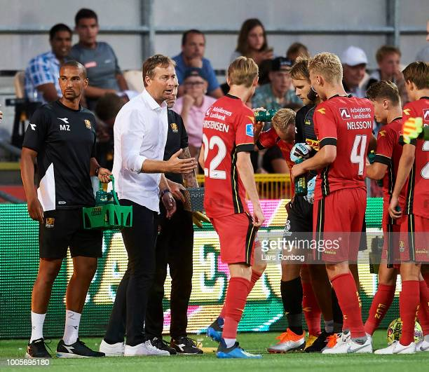 Kasper Hjulmand head coach of FC Nordsjalland speaks to his players during the UEFA Europa League Qual match between FC Nordsjalland and AIK...