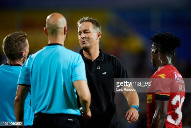 Kasper Hjulmand head coach of FC Nordsjalland speaks to Referee Alejandro Hernandez of Spain after the UEFA Europa League Qual match between FC...