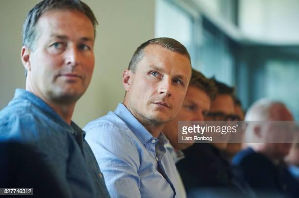 Kasper Hjulmand head coach of Randers FC and Michael Gravgaard director of Randers FC during the Danish Alka Superliga media event at Brondby Stadion...