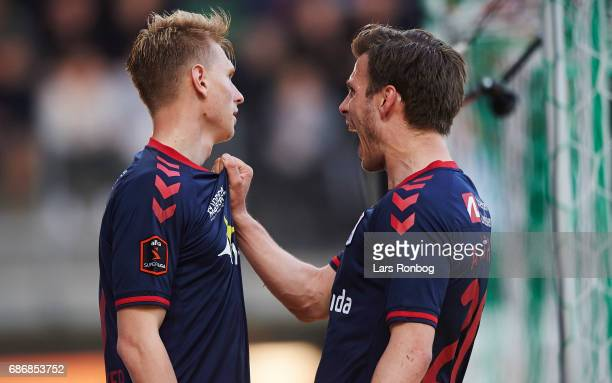 Kasper Junker and Elmar Bjarnason of AGF Aarhus celebrate after scoring their second goal during the Danish Alka Superliga match between Viborg FF...