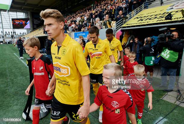 Kasper Junker of AC Horsens walks on tot the pitch prior to the Danish Superliga match between AC Horsens and AGF Aarhus at CASA Arena Horsens on...