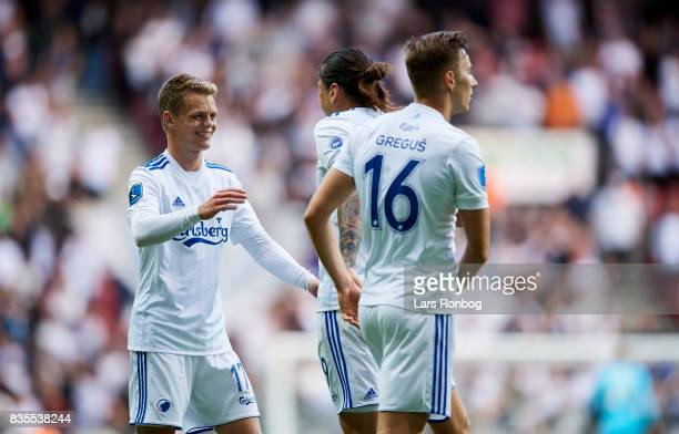 Kasper Kusk and Federico Santander of FC Copenhagen celebrate after scoring their first goal during the Danish Alka Superliga match between FC...