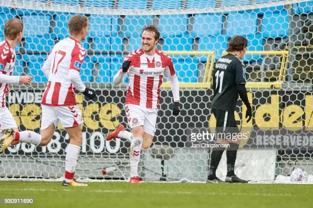 Kasper Kusk of AaB Aalborg and Kasper Pedersen of AaB Aalborg celebrate after the 20 goal from Kasper Pedersen during the Danish Alka Superliga match...