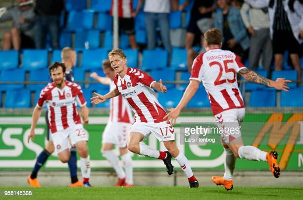 Kasper Kusk of AaB Aalborg celebrates after scoring their first goal during the Danish Alka Superliga match between AaB Aalborg and FC Copenhagen at...
