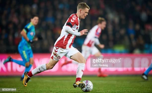 Kasper Kusk of AaB Aalborg controls the ball during the Danish Alka Superliga match between AaB Aalborg and Brondby IF at Aalborg Portland Park on...