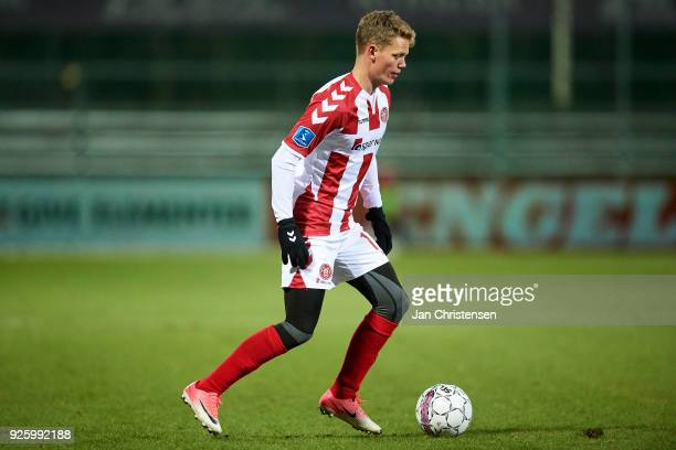 Kasper Kusk of AaB Aalborg controls the ball during the Danish Alka Superliga match between SonderjyskE and AaB Aalborg at Sydbank Park on March 01...