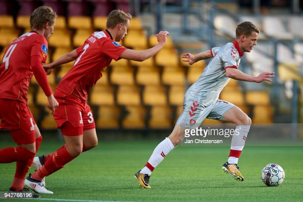 Kasper Kusk of AaB Aalborg controls the ball during the Danish Alka Superliga match between FC Nordsjalland and AaB Aalborg at Right to Dream Park on...
