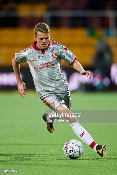 Kasper Kusk of AaB Aalborg in action during the Danish Alka Superliga match between FC Nordsjalland and AaB Aalborg at Right to Dream Park on April...