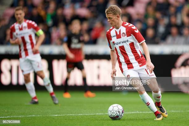 Kasper Kusk of AaB Aalborg in action during the Danish Alka Superliga match between FC Midtjylland and AaB Aalborg at MCH Arena on April 29 2018 in...