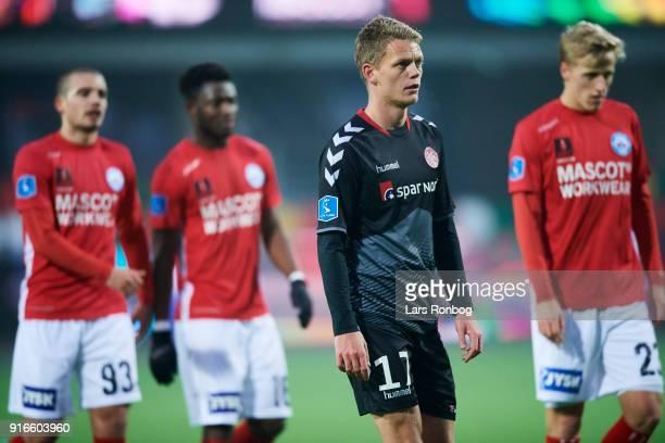 Kasper Kusk of AaB Aalborg looks dejected during the Danish Alka Superliga match between Silkeborg IF and AaB Aalborg at Jysk Park on February 10...