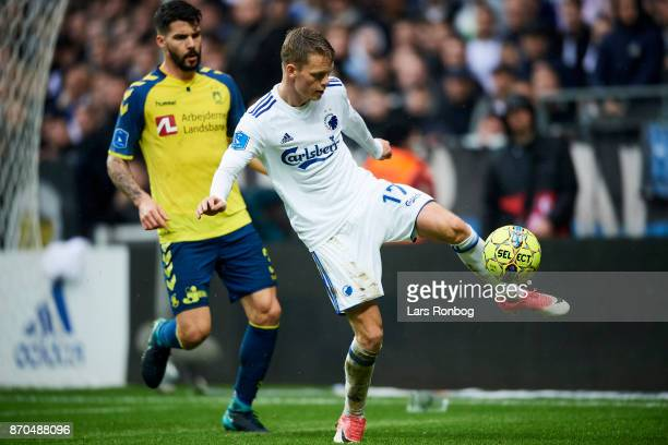 Kasper Kusk of FC Copenhagen and Anthony Jung of Brondby IF compete for the ball during the Danish Alka Superliga match between FC Copenhagen and...