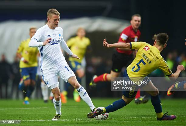 Kasper Kusk of FC Copenhagen and Gregor Sikosek of Brondby IF compete for the ball during the Danish Alka Superliga match between FC Copenhagen and...