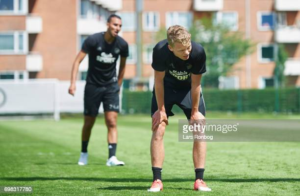 Kasper Kusk of FC Copenhagen and Youssef Toutouh of FC Copenhagen looking exhausted during the FC Copenhagen training session at KB's baner on June...