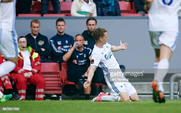 Kasper Kusk of FC Copenhagen celebrates after scoring their first goal during the Danish Alka Superliga match between FC Copenhagen and Brondby IF at...