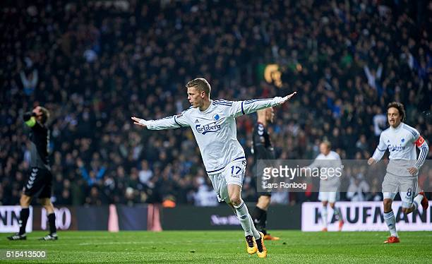 Kasper Kusk of FC Copenhagen celebrates after scoring their second goal during the Danish Alka Superliga match between FC Copenhagen and AaB Aalborg...