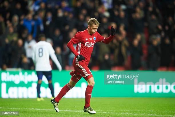 Kasper Kusk of FC Copenhagen celebrates after scoring their third goal during the Danish Cup DBU Pokalen match match between B93 and FC Copenhagen at...