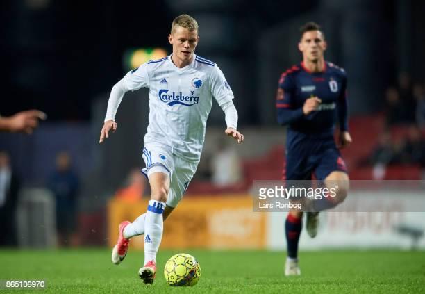 Kasper Kusk of FC Copenhagen controls the ball during the Danish Alka Superliga match between FC Copenhagen and AGF Aarhus at Telia Parken Stadium on...