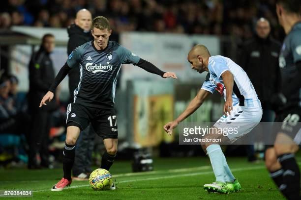 Kasper Kusk of FC Copenhagen controls the ball during the Danish Alka Superliga match between SonderjyskE and FC Copenhagen at Sydbank Park on...