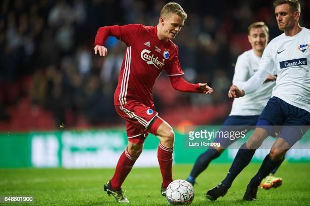 Kasper Kusk of FC Copenhagen controls the ball during the Danish Cup DBU Pokalen match match between B93 and FC Copenhagen at Telia Parken Stadium on...