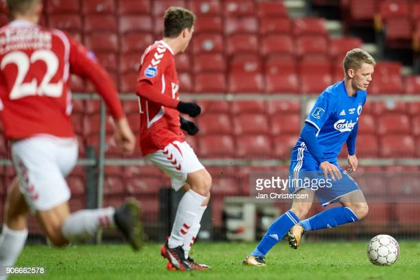 Kasper Kusk of FC Copenhagen controls the ball during the test match between FC Copenhagen and Vejle Boldklub in Telia Parken Stadium on January 18...