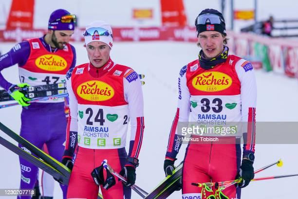 Kasper Moen Flatla of Norway and Espen Andersen of Norway reacts during the Men's Gundersen Normal Hill HS98/10.0 Km at the FIS Nordic Combined World...
