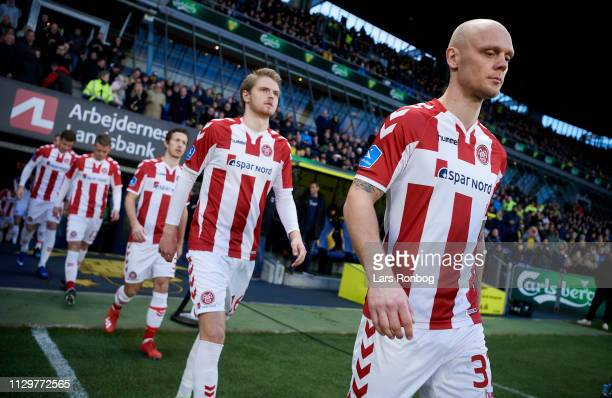 Kasper Pedersen of AaB Aalborg walking on to the pitch prior to the Danish Superliga match between Brondby IF and AaB Aalborg at Brondby Stadion on...