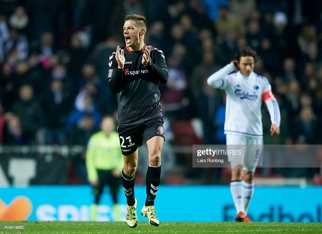 Kasper Risgaard of AaB Aalborg celebrates after scoring their first goal during the Danish Alka Superliga match between FC Copenhagen and AaB Aalborg at Telia Parken Stadium on March 13, 2016 in Copenhagen, Denmark.