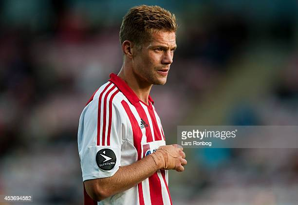 Kasper Risgard of AaB Aalborg with his injured hand during the Danish Superliga match between AaB Aalborg and Esbjerg FB at Nordjyske Arena on August...