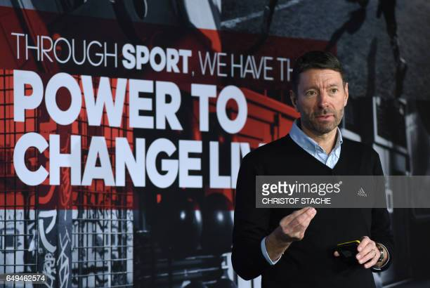 Kasper Rorsted CEO of the sportswear manufacturer Adidas speaks during the company's annual press conference in Herzogenaurach southern Germany on...