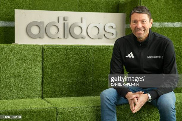 Kasper Rorsted chairman of German sporting goods maker Adidas poses for a picture prior to his company's annual press conference on March 13 2019 in...