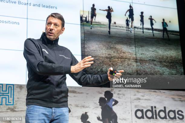 Kasper Rorsted chairman of German sporting goods maker Adidas speaks during his company's annual press conference on March 13 2019 in Herzogenaurach...