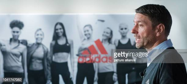 Kasper Rorsted chairman of sporting goods brand Adidas speaks during the balance press conference of the company in Herzogenaurach Germany 8 March...