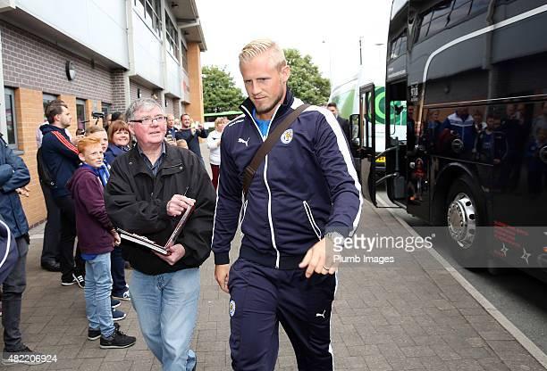 Kasper Schemichel of Leicester City arrives at Pirelli Stadium ahead of the pre-season friendly between Burton Albion and Leicester City at Pirelli...
